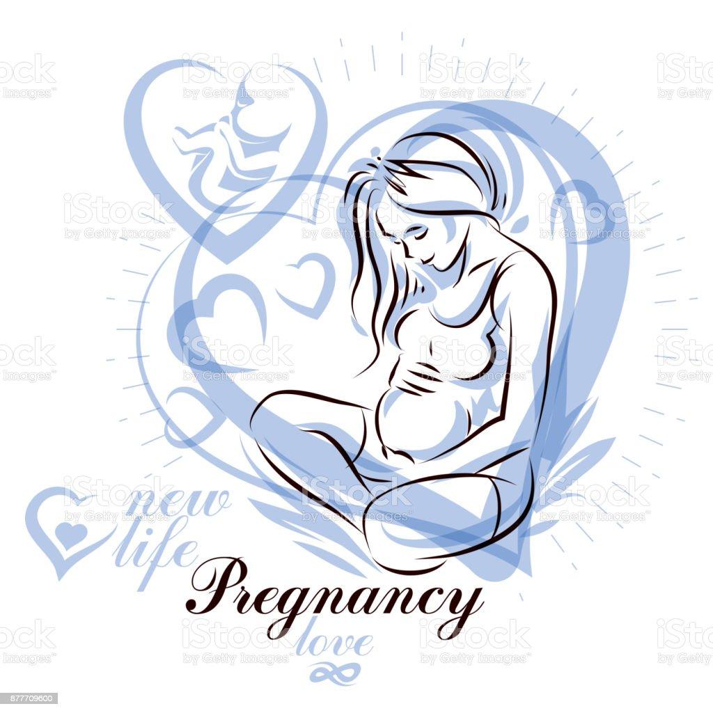 silhouette de corps de femme enceinte l gant dessin illustration vectorielle de future maman. Black Bedroom Furniture Sets. Home Design Ideas