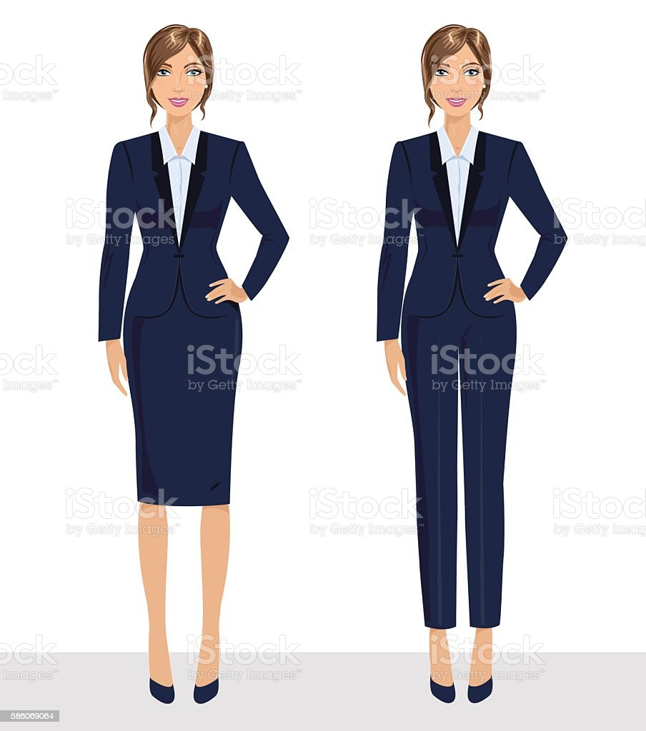 Elegant pretty business woman in formal clothes. vector art illustration