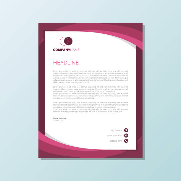 elegant purple abstract corporate business letterhead design elegant purple abstract corporate business letterhead design letterhead stock illustrations