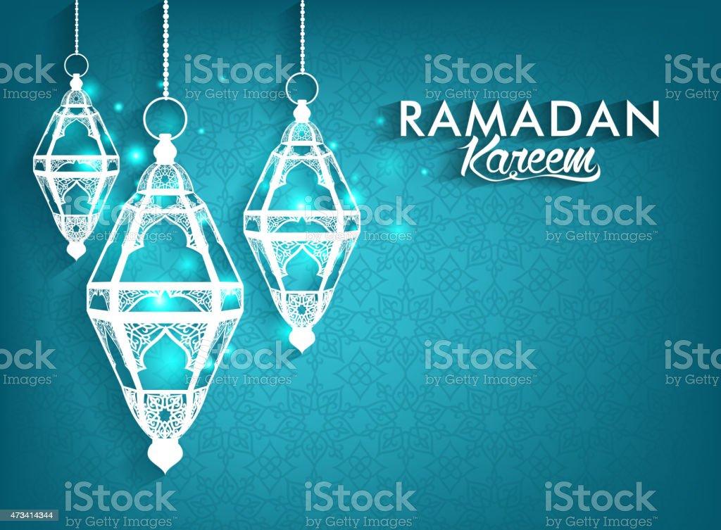 Elegant Ramadan Kareem lanterns on real background