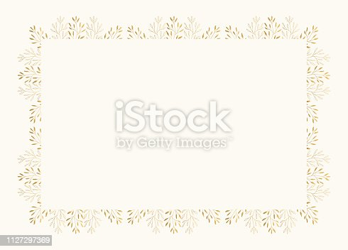 Elegant rectangular frame with herbs and leaves. Golden luxury wedding design. Vector isolated illustration.