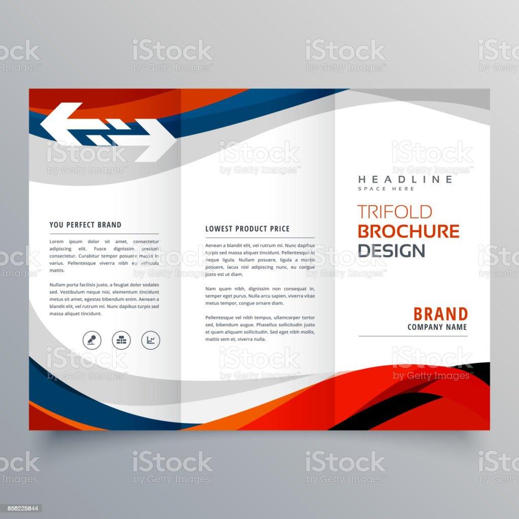 Elegant Red And Blue Wave Business Tri Fold Brochure Design Template