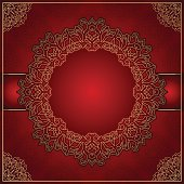 Elegant red background with gold ornament