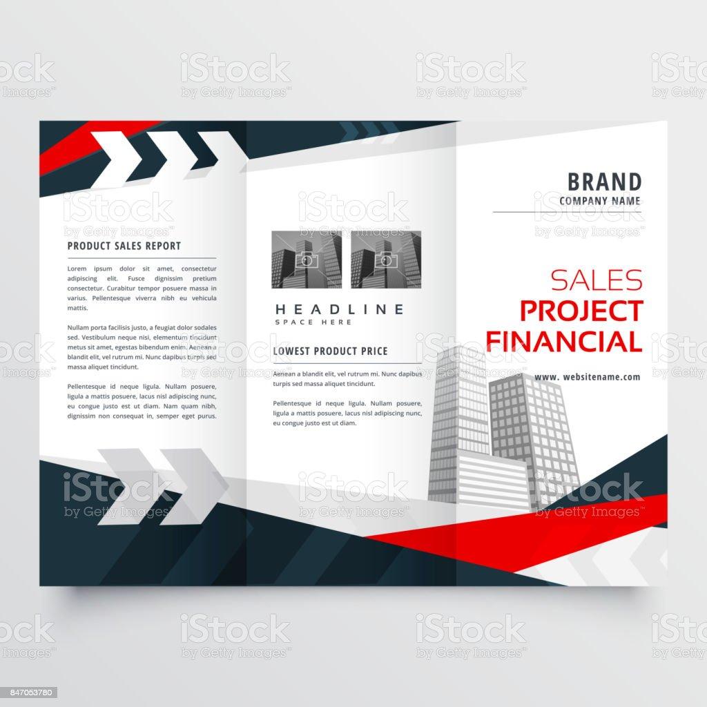 elegant red black business trifold brochure design template vector art illustration