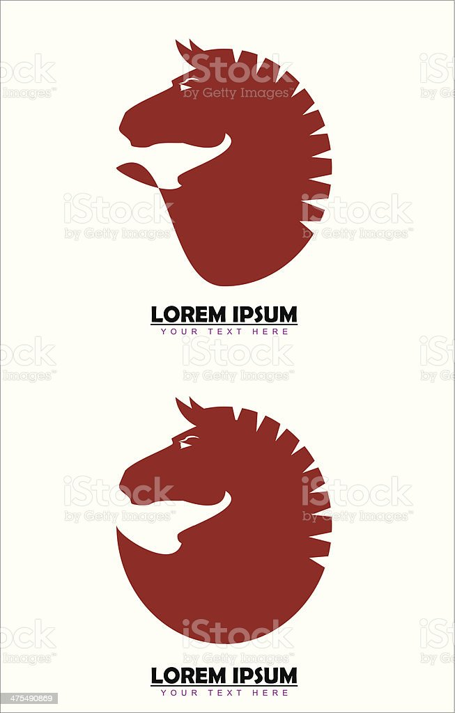 Elegant red maroon horse vector art illustration