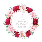 Elegant red peonies, orchid, rose, camellia, eucalyptus round vector frame