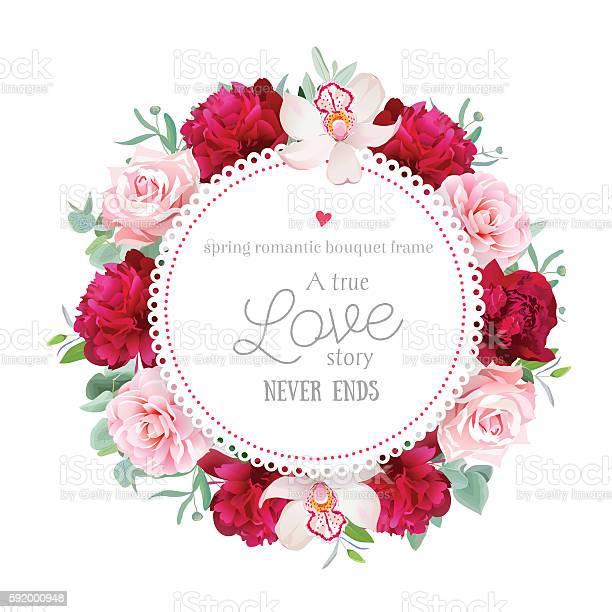 Elegant red peonies orchid rose camellia eucalyptus round vector vector id592000948?b=1&k=6&m=592000948&s=612x612&h=0ipejzqcob6xs2bjoxgu6j kxgzse6z2bfbtn8durho=