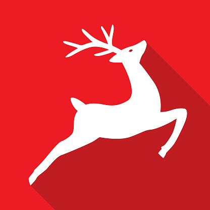 Vwctor illustration of an elegant white reindeer on a square red background.