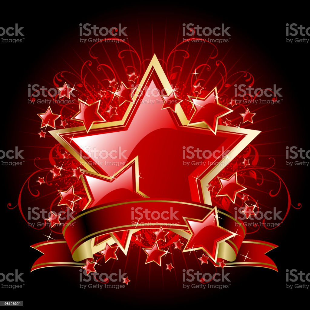 Elegant Red Stars with Banner royalty-free elegant red stars with banner stock vector art & more images of banner - sign