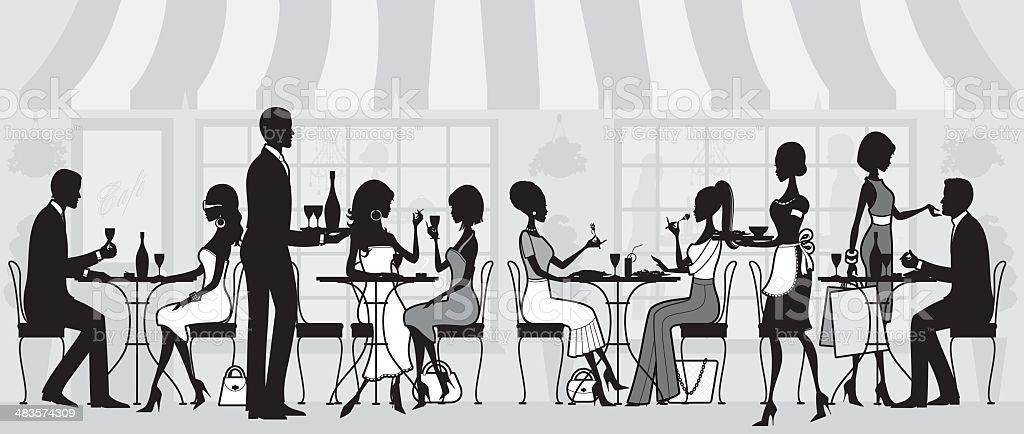 Elegant Restaurant People royalty-free stock vector art
