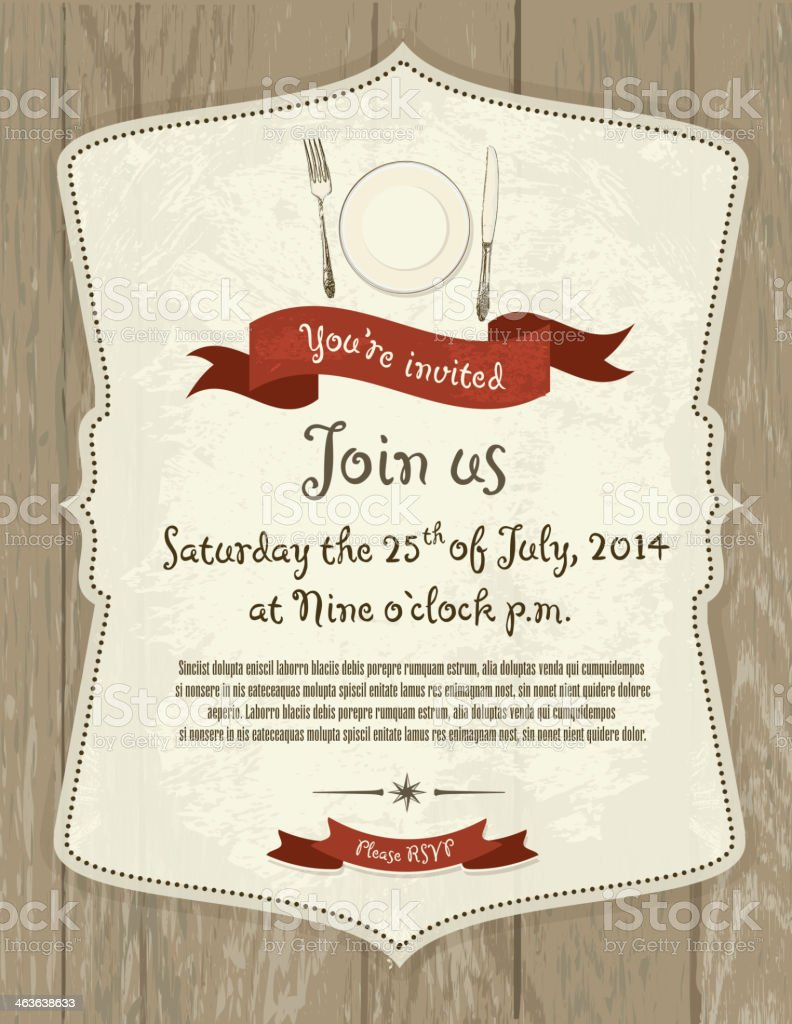 Elegant retro invitation design template on light gray wood vector art illustration