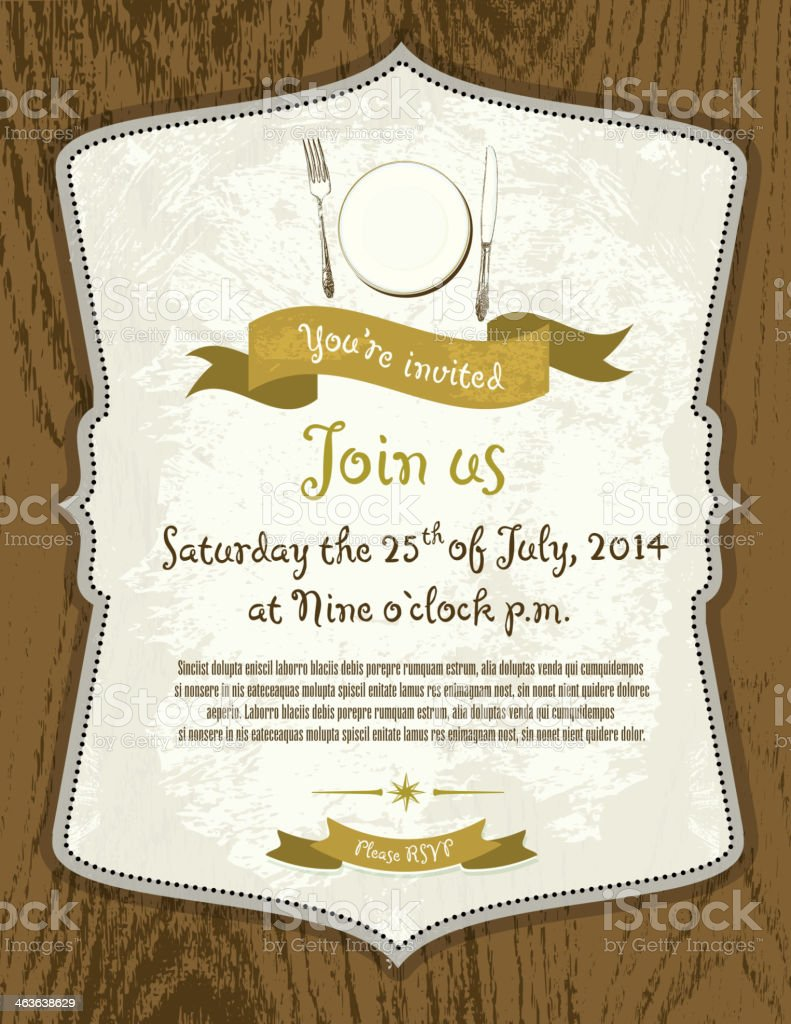 Elegant retro invitation design template on oak wood background vector art illustration