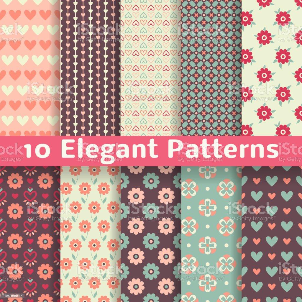 Elegant romantic vector seamless patterns (tiling). Retro vector art illustration