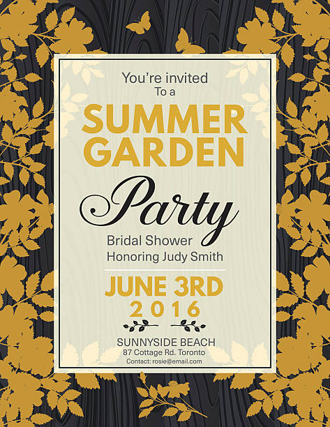 Elegant Roses Bridal Shower Garden Party Invitation vector art illustration