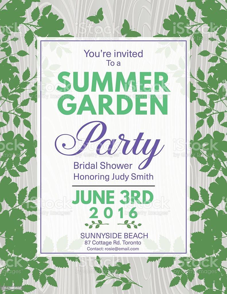 Elegante Rosen Brautparty Garten-Party-Einladung – Vektorgrafik