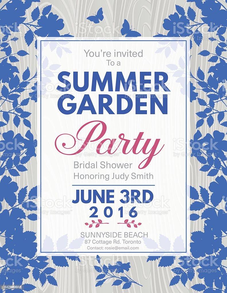 Elegant Roses Bridal Shower Garden Party Invitation vector art illustration