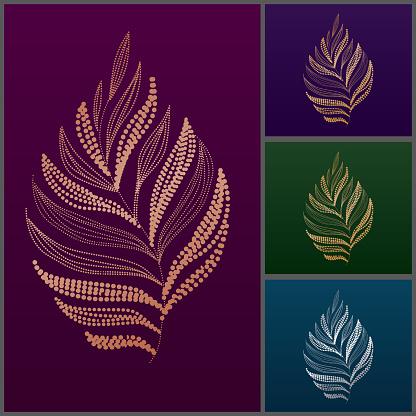 Elegant royal metallic gold silver leaf vector illustration
