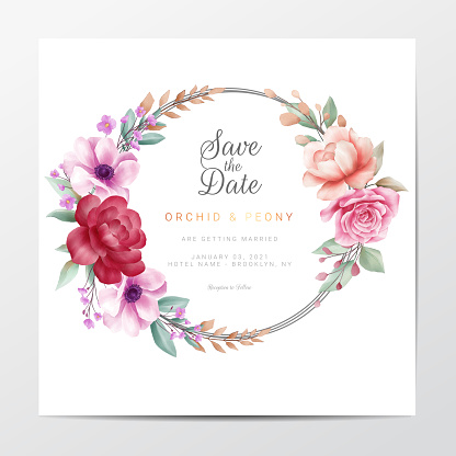 Elegant save the date with watercolor floral wreath. Square wedding invitation cards template vector