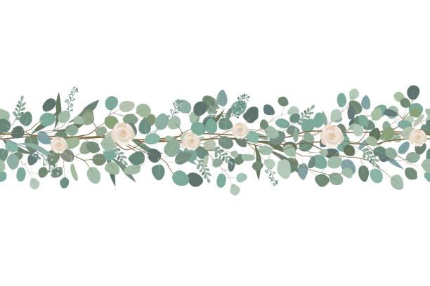 elegante nahtlose grenze aus rosen und eukalyptus zweige. blumengirlande. vektor-illustration. - zeichensetzung stock-grafiken, -clipart, -cartoons und -symbole