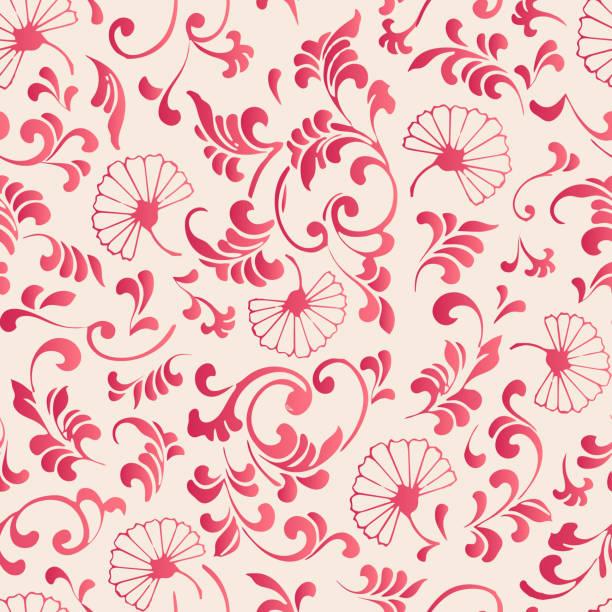 優雅なシームレスな中国風植物園花スパイラル曲線葉つるパターン背景クロス - 台湾点のイラスト素材/クリップアート素材/マンガ素材/アイコン素材