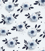 Elegant seamless pattern with flowers.