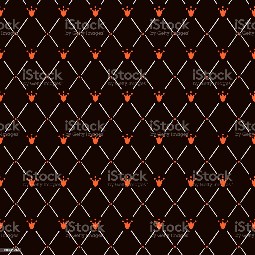 Elegant seamless pattern with rhombus and red small flower lily or tulip on black. vector art illustration