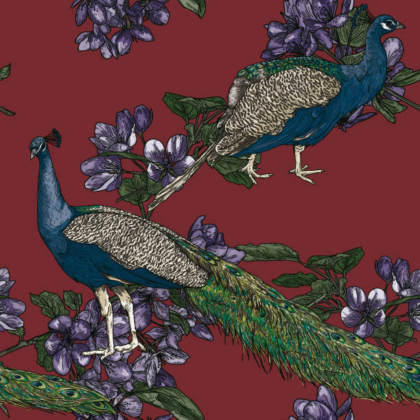 Elegant Seamless Vintage Look Peacock Pattern vector art illustration