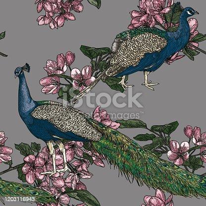 istock Elegant Seamless Vintage Look Peacock Pattern 1203116943