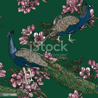 istock Elegant Seamless Vintage Look Peacock Pattern 1203116990