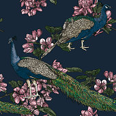 Detailed line art of peacocks and crabapple tree blossoms adorn this seamless pattern in a vintage style. Global colours, easy to change.