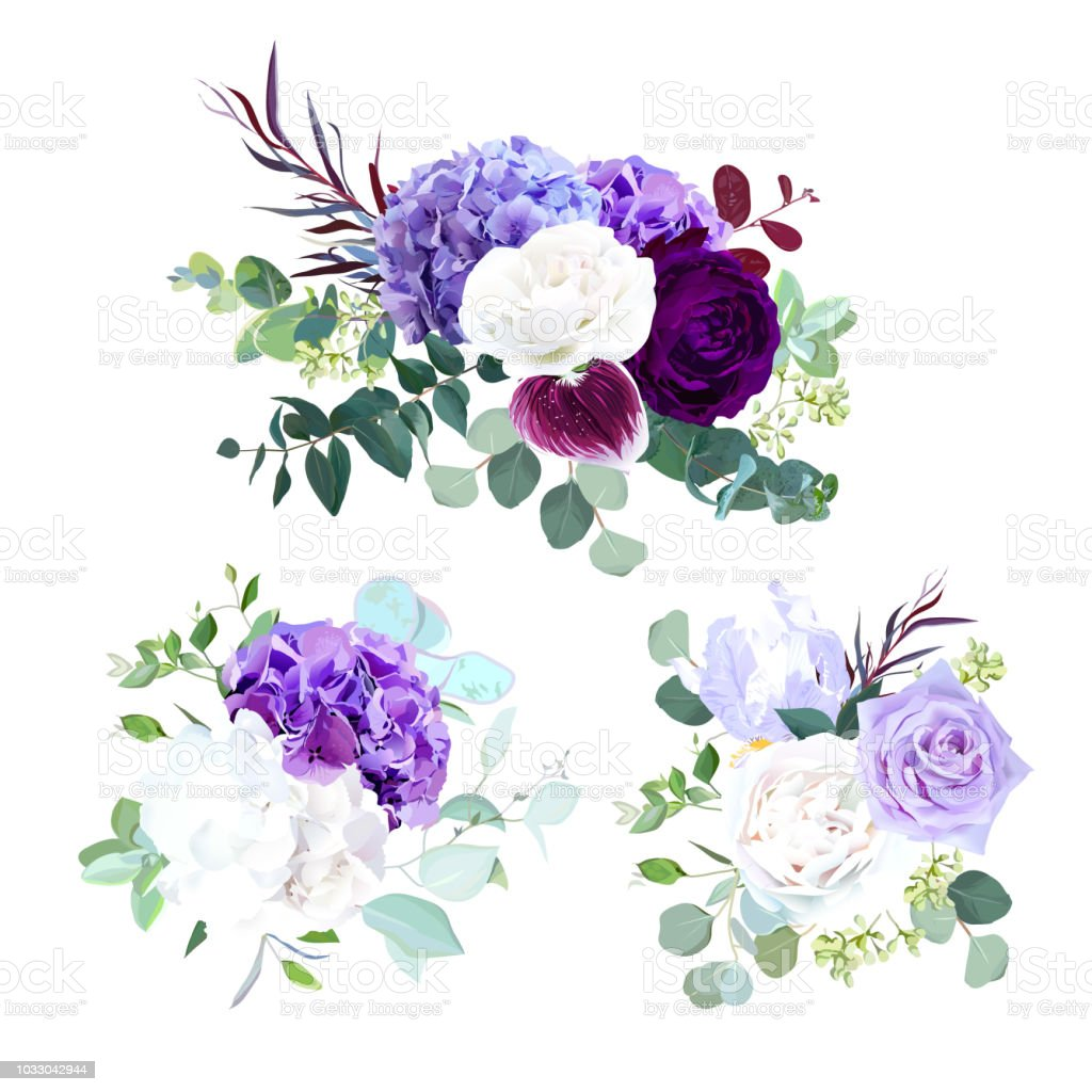 Elegant Seasonal Dark Flowers Vector Design Wedding Bouquets Stock