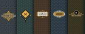 Elegant set of design elements, labels, icon, frames, seamless backgrounds for packaging