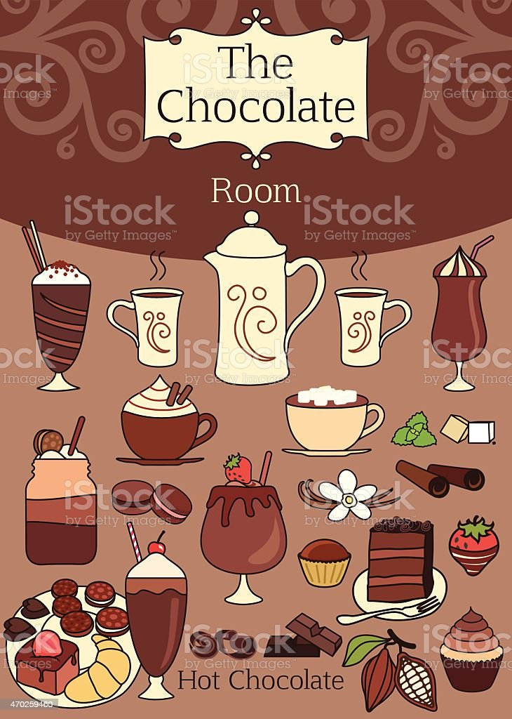 Elegant set of chocolate design elements vector art illustration
