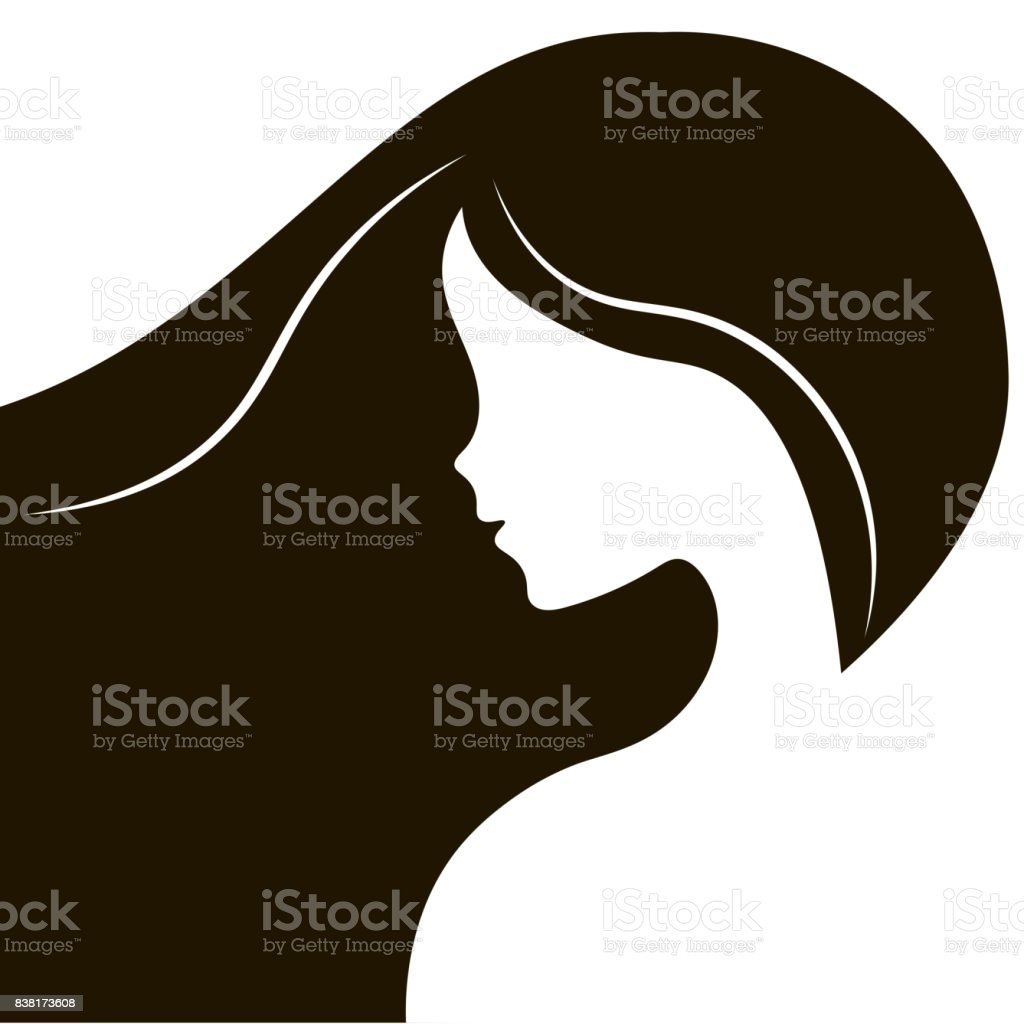 Elegant Silhouette Greeting Card Design With Illustration Of Young Girl Fashion Profile Beauty Salon Abstract Girl Hair Flat Design Concept For Beauty Salon Spa Massage Cosmetic Shop Stock Illustration Download Image