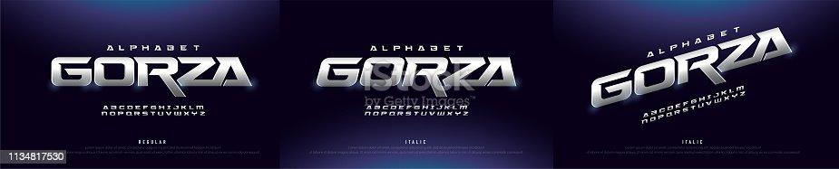 Elegant Silver 3D Metal Chrome Alphabet Regular and Italic Font. Typography silver technology, digital, movie logo fonts. vector illustration