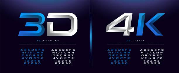 우아한 실버 및 블루 3d 금속 크롬 알파벳 및 숫자 글꼴. 타이포 그래피 기술, 디지털, 영화 로고 글꼴 디자인. 벡터 일러스트 - 크롬 stock illustrations