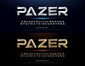 Elegant Silver And Gold 3D Metal Chrome Alphabet And Number Font. Typography gold color technology, digital, movie logo fonts design. vector illustration