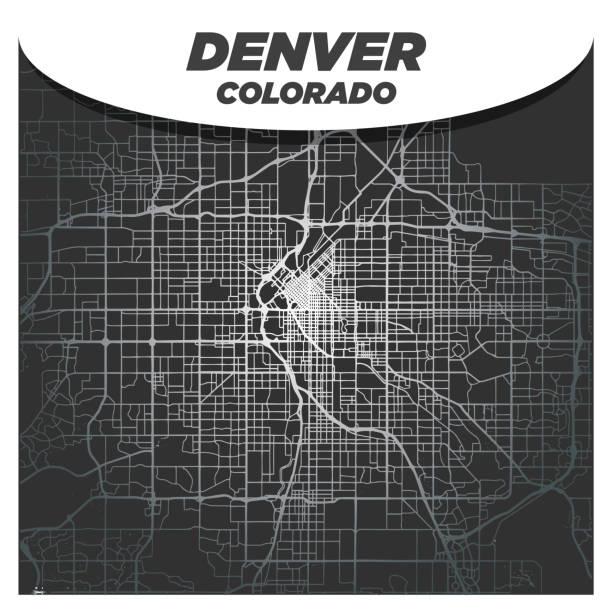 Elegant Silver Map of Downtown Denver Colorado City Center on Dark Gray Background vector art illustration