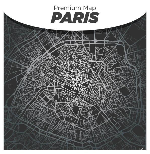 Elegant Silver Map of Paris City Center on Dark Gray Background vector art illustration