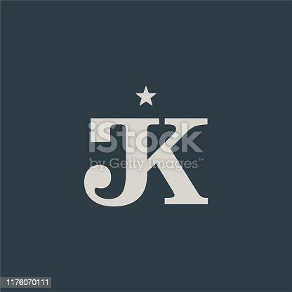 istock Elegant Simple Initials / Monogram Letter J & K design 1176070111