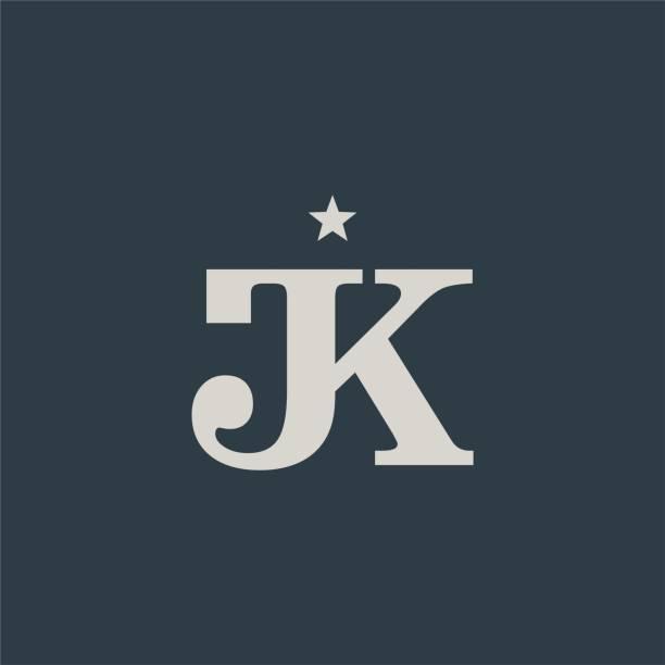 Elegant Simple Initials / Monogram Letter J & K design image description letter j stock illustrations