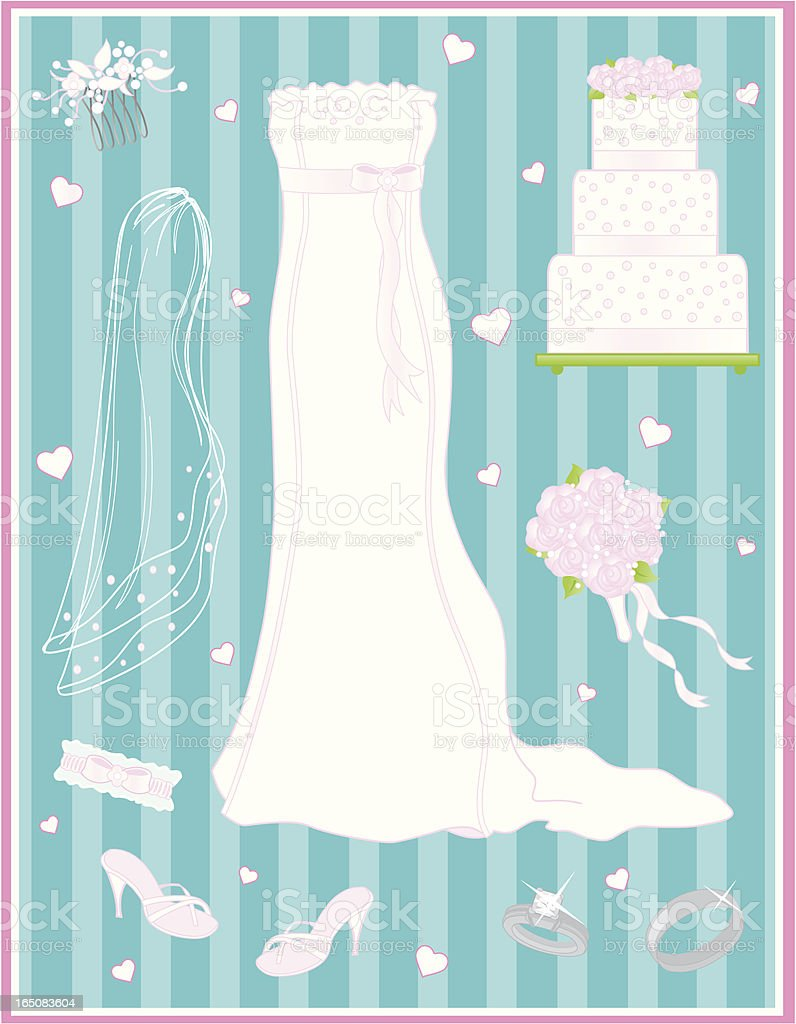 Elegant Simplicity-Bridal Gown and Accessories royalty-free stock vector art