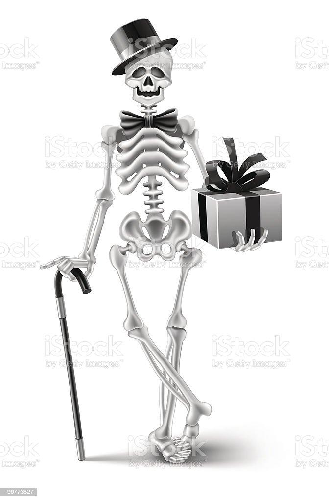 elegant skeleton gentleman with a halloween gift royalty-free stock vector art