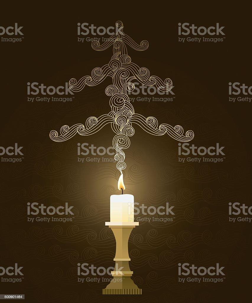 Elegant smoky christmas card vector art illustration
