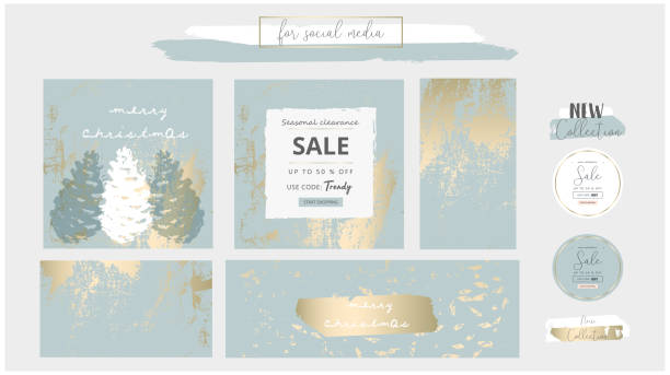 elegant social media trendy chic gold grey blue christmas  style banner templates - invitations templates stock illustrations