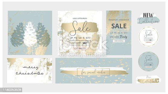 Elegant social media trendy chic gold grey blue Christmas  style banner templates