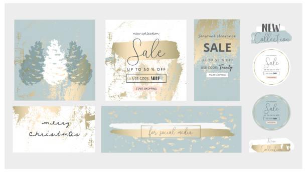 ilustrações, clipart, desenhos animados e ícones de elegantes mídias sociais moda chique ouro cinza azul estilo de natal banner modelos - moda de inverno