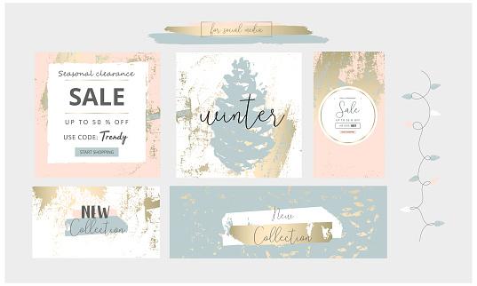 Elegant social media trendy chic gold grey blue Christmas  style banner templates