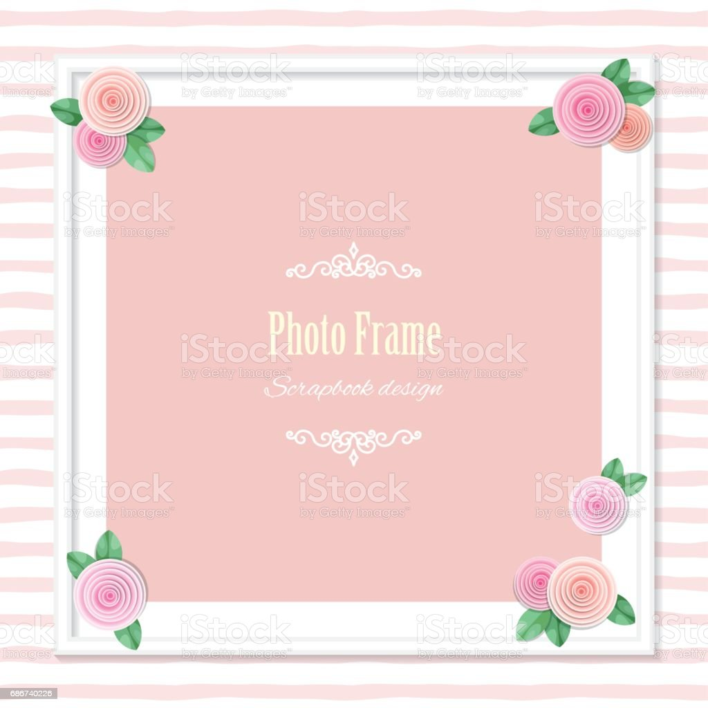 Elegant Square Photo Frame Decorated With Roses On Striped