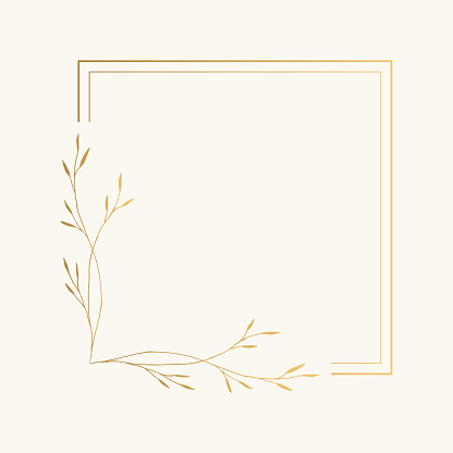 Elegant squared frame with golden leaves. Vector isolated illustration.